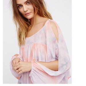 Free People Mystic Blouse Top S Tie Dye Slit Boho